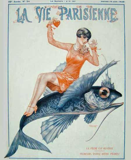 Roaring 1920s La Vie Parisienne 1928 La Peche Est Ouverte | Roaring 1920s Ad Art and Magazine Cover Art