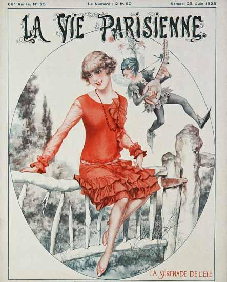 Roaring 1920s La Vie Parisienne 1928 La Serenade D Ete | Roaring 1920s Ad Art and Magazine Cover Art
