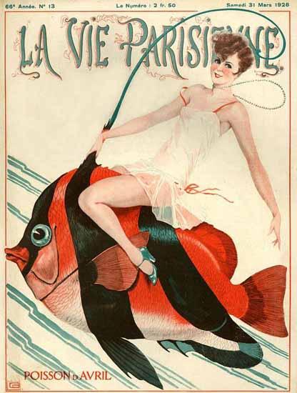 Roaring 1920s La Vie Parisienne 1928 Poisson D Avril | Roaring 1920s Ad Art and Magazine Cover Art