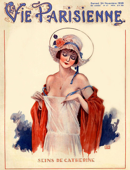 Roaring 1920s La Vie Parisienne 1928 Seins Catherine Georges Leonnec | Roaring 1920s Ad Art and Magazine Cover Art