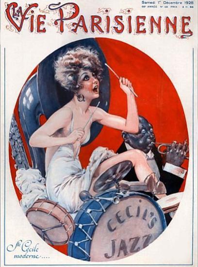 Roaring 1920s La Vie Parisienne 1928 Ste Cecile Moderne   Roaring 1920s Ad Art and Magazine Cover Art