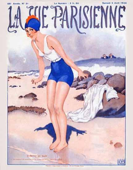 Roaring 1920s La Vie Parisienne 1928 Suzette Au Bain | Roaring 1920s Ad Art and Magazine Cover Art