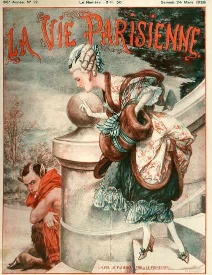 Roaring 1920s La Vie Parisienne 1928 Un Peu De Patience | Roaring 1920s Ad Art and Magazine Cover Art