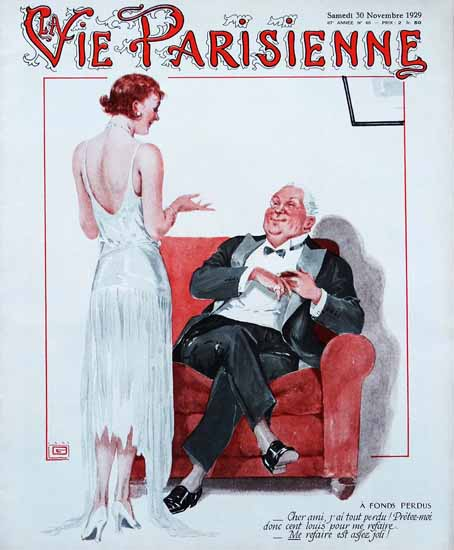 Roaring 1920s La Vie Parisienne 1929 A Fonds Perdus   Roaring 1920s Ad Art and Magazine Cover Art