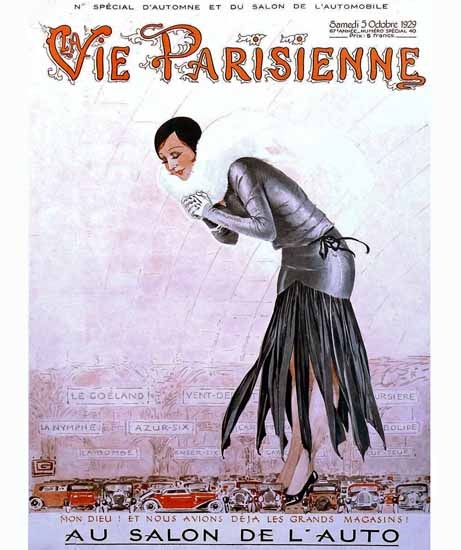 Roaring 1920s La Vie Parisienne 1929 Au Salon De L Auto | Roaring 1920s Ad Art and Magazine Cover Art