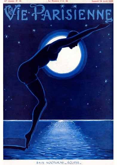 Roaring 1920s La Vie Parisienne 1929 Bain Nocturne Eclipse | Roaring 1920s Ad Art and Magazine Cover Art