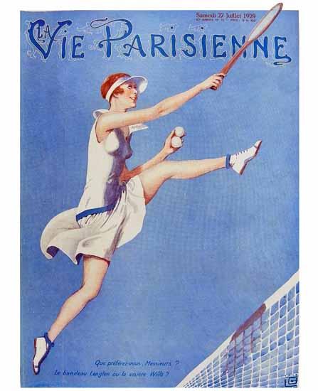 Roaring 1920s La Vie Parisienne 1929 Bandeau Lenglen Georges Leonnec | Roaring 1920s Ad Art and Magazine Cover Art