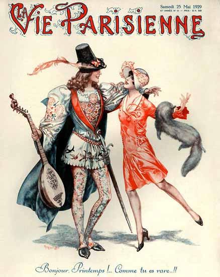 Roaring 1920s La Vie Parisienne 1929 Bonjour Printemps   Roaring 1920s Ad Art and Magazine Cover Art