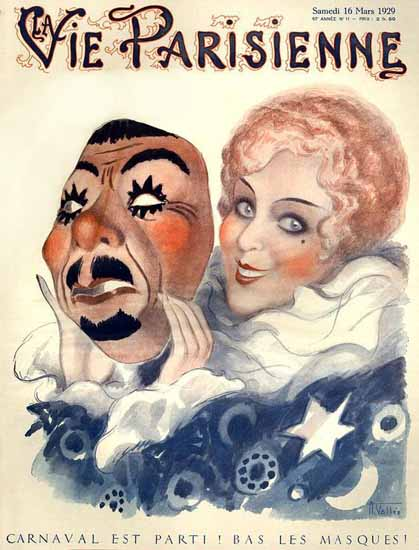 Roaring 1920s La Vie Parisienne 1929 Carnaval Est Parti   Roaring 1920s Ad Art and Magazine Cover Art