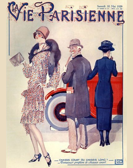 Roaring 1920s La Vie Parisienne 1929 Chassis Court Ou Long | Roaring 1920s Ad Art and Magazine Cover Art