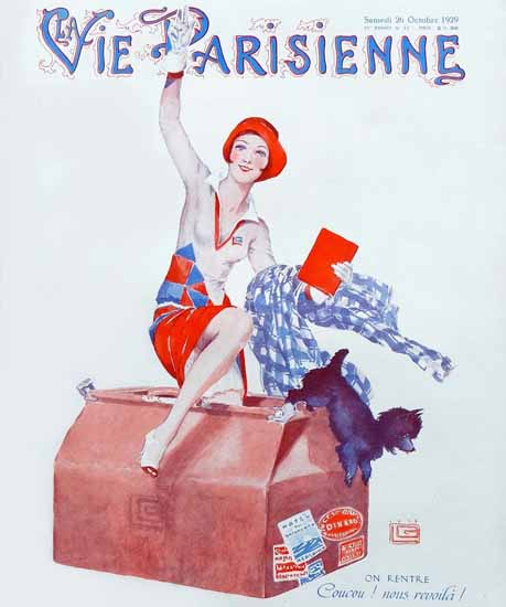 Roaring 1920s La Vie Parisienne 1929 Coucou On Rentre | Roaring 1920s Ad Art and Magazine Cover Art