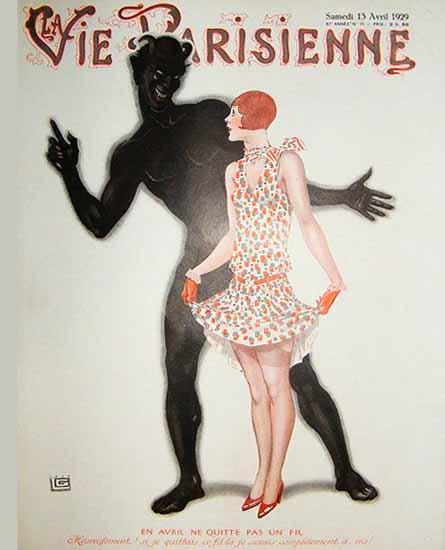 Roaring 1920s La Vie Parisienne 1929 En Avril Ne Quitte Pas Un Fil | Roaring 1920s Ad Art and Magazine Cover Art