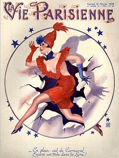 Roaring 1920s La Vie Parisienne 1929 En Plein Ciel De Carnaval | Roaring 1920s Ad Art and Magazine Cover Art
