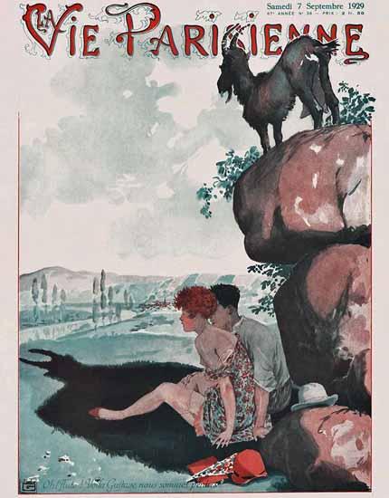 Roaring 1920s La Vie Parisienne 1929 Gustave Nous Sommes Perdus | Roaring 1920s Ad Art and Magazine Cover Art