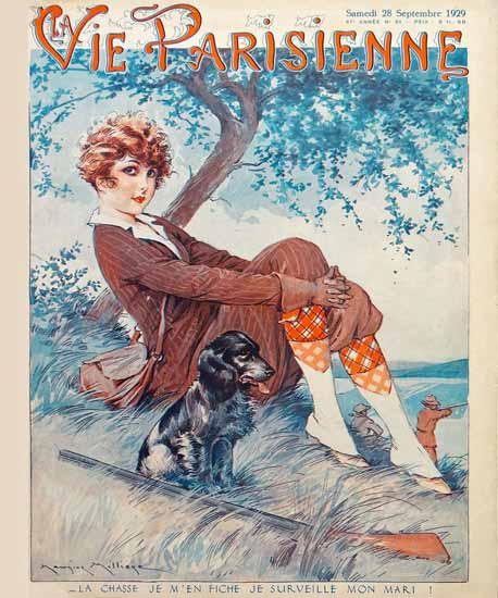 Roaring 1920s La Vie Parisienne 1929 Je Surveille Mon Mari | Roaring 1920s Ad Art and Magazine Cover Art