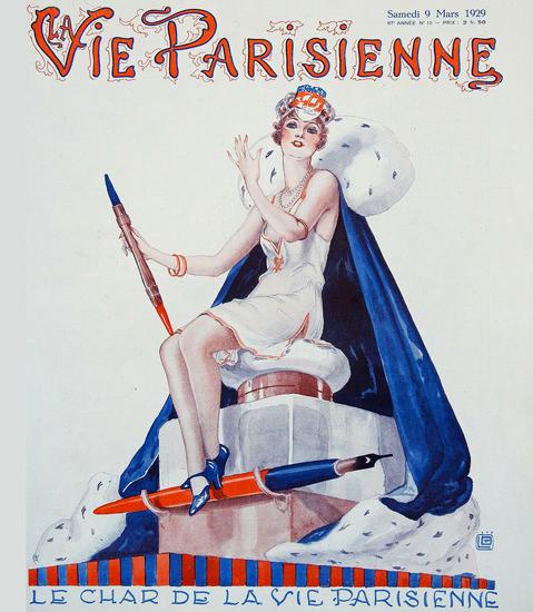 Roaring 1920s La Vie Parisienne 1929 La Char De La Vie Georges Leonnec | Roaring 1920s Ad Art and Magazine Cover Art