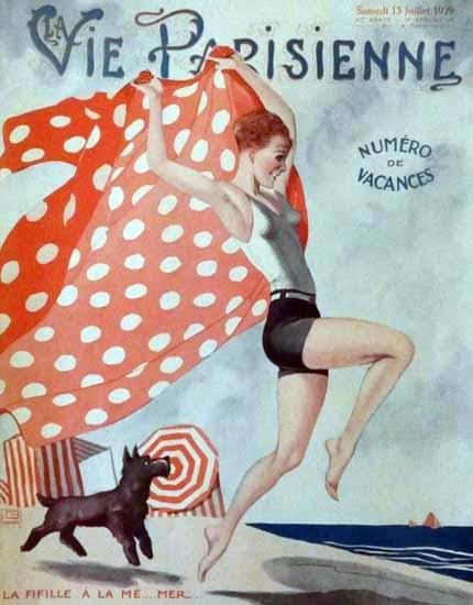 Roaring 1920s La Vie Parisienne 1929 La Fifille A La Me Mer | Roaring 1920s Ad Art and Magazine Cover Art
