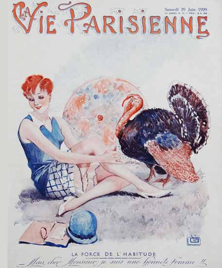 Roaring 1920s La Vie Parisienne 1929 La Force De L Habitude | Roaring 1920s Ad Art and Magazine Cover Art