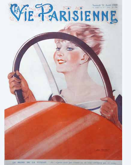 Roaring 1920s La Vie Parisienne 1929 La Reine De La Vitesse | Roaring 1920s Ad Art and Magazine Cover Art