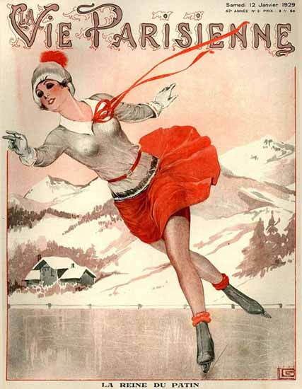 Roaring 1920s La Vie Parisienne 1929 La Reine Du Patin | Roaring 1920s Ad Art and Magazine Cover Art