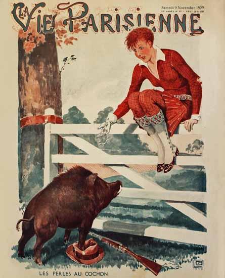 Roaring 1920s La Vie Parisienne 1929 Les Perles Au Cochon | Roaring 1920s Ad Art and Magazine Cover Art