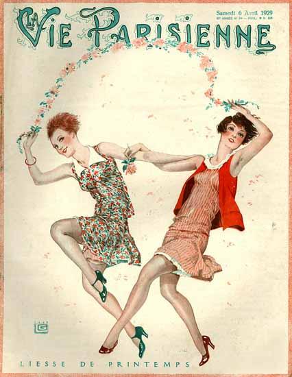 Roaring 1920s La Vie Parisienne 1929 Liesse De Printemps | Roaring 1920s Ad Art and Magazine Cover Art