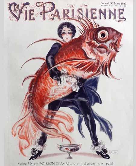 Roaring 1920s La Vie Parisienne 1929 Mon Poisson D Avril | Roaring 1920s Ad Art and Magazine Cover Art
