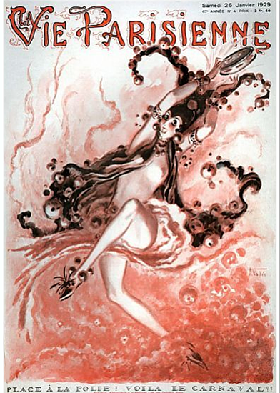 Roaring 1920s La Vie Parisienne 1929 Place A La Folie | Roaring 1920s Ad Art and Magazine Cover Art