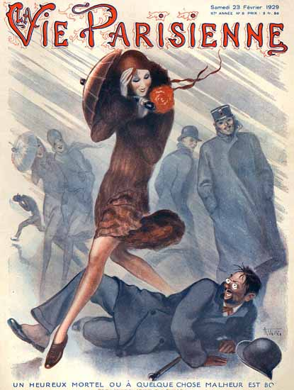 Roaring 1920s La Vie Parisienne 1929 Storm Un Heureux Mortel | Roaring 1920s Ad Art and Magazine Cover Art