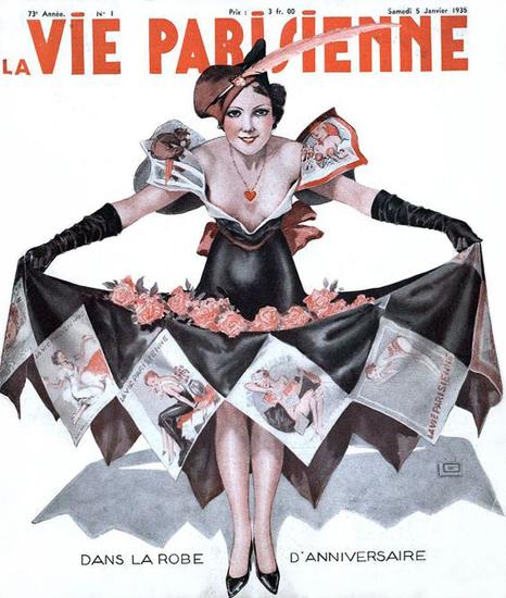 Roaring 1920s La Vie Parisienne 1935 Robe Anniversaire Georges Leonnec | Roaring 1920s Ad Art and Magazine Cover Art