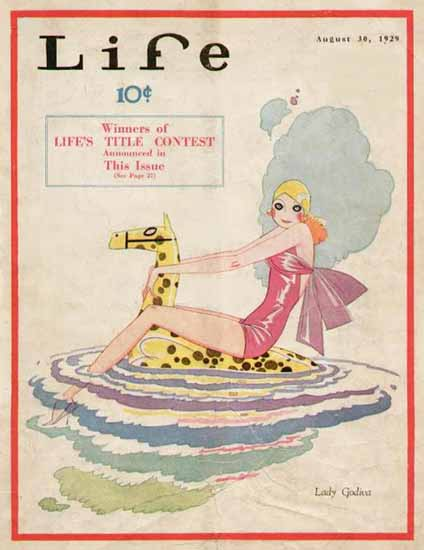 Roaring 1920s Lady Godiva Life Humor Magazine 1929-08-30 Copyright | Roaring 1920s Ad Art and Magazine Cover Art