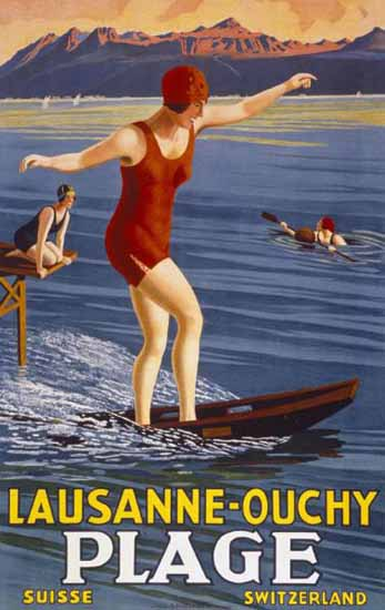 Roaring 1920s Lausanne Ouchy Plage Suisse Switzerland Surfing 1926 | Roaring 1920s Ad Art and Magazine Cover Art