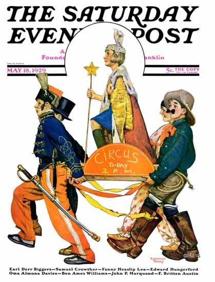 Roaring 1920s Lawrence Toney Saturday Evening Post Circus 1929_05_18 | Roaring 1920s Ad Art and Magazine Cover Art