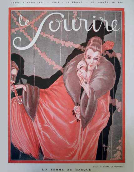 Roaring 1920s Le Sourire 1921 La Femme Au Masque   Roaring 1920s Ad Art and Magazine Cover Art
