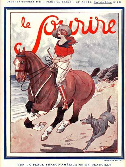 Roaring 1920s Le Sourire 1921 La Plage De Deauville | Roaring 1920s Ad Art and Magazine Cover Art