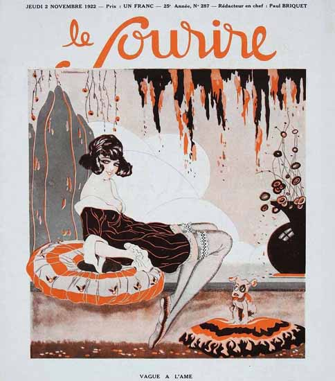 Roaring 1920s Le Sourire 1922 Vague A L Ame | Roaring 1920s Ad Art and Magazine Cover Art