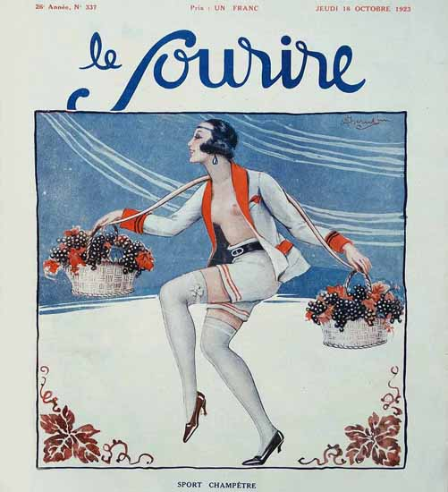 Roaring 1920s Le Sourire 1923 Sport Chametre | Roaring 1920s Ad Art and Magazine Cover Art
