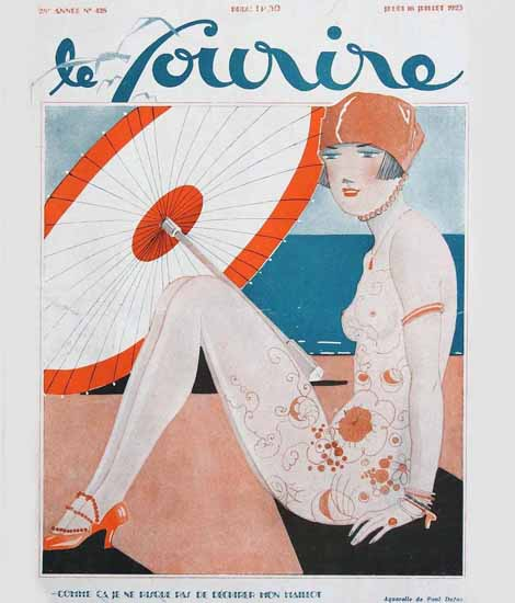 Roaring 1920s Le Sourire 1925 Mon Maillot | Roaring 1920s Ad Art and Magazine Cover Art