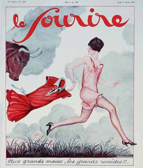 Roaring 1920s Le Sourire 1927 Aux Grands Maux | Roaring 1920s Ad Art and Magazine Cover Art