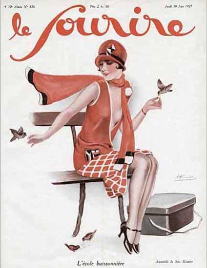 Roaring 1920s Le Sourire 1927 L Ecole Buissonniere   Roaring 1920s Ad Art and Magazine Cover Art