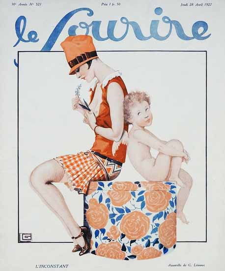 Roaring 1920s Le Sourire 1927 L Inconstant Georges Leonnec | Roaring 1920s Ad Art and Magazine Cover Art