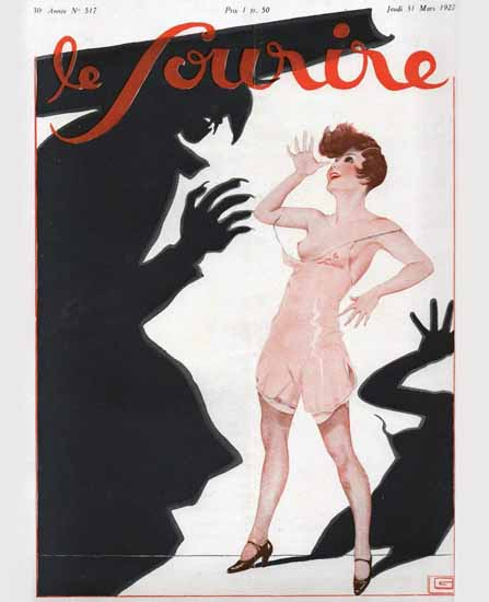 Roaring 1920s Le Sourire 1927 Mars 31 Georges Leonnec | Roaring 1920s Ad Art and Magazine Cover Art