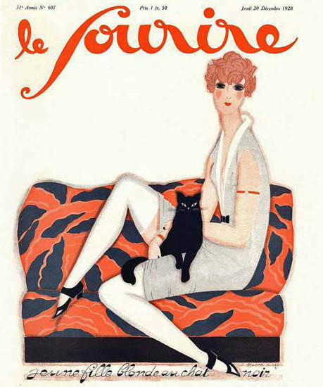 Roaring 1920s Le Sourire 1928 Blonde Au Chat Noire | Roaring 1920s Ad Art and Magazine Cover Art