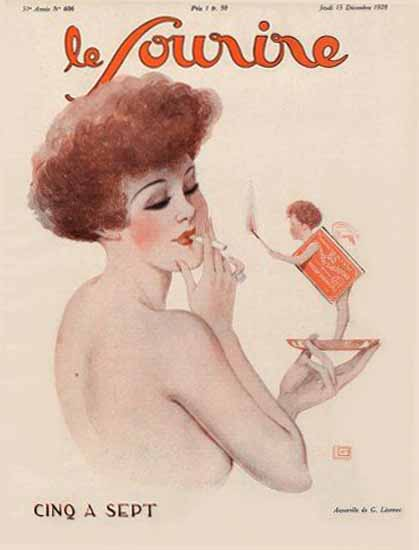 Roaring 1920s Le Sourire 1928 Cinq A Sept Georges Leonnec | Roaring 1920s Ad Art and Magazine Cover Art
