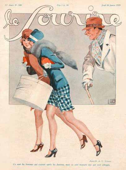 Roaring 1920s Le Sourire 1928 Janvier 26 Georges Leonnec | Roaring 1920s Ad Art and Magazine Cover Art