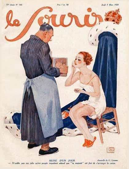 Roaring 1920s Le Sourire 1928 Reine D Un Jour Georges Leonnec   Roaring 1920s Ad Art and Magazine Cover Art