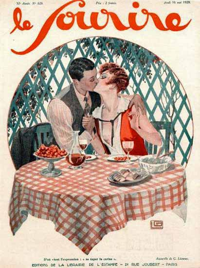 Roaring 1920s Le Sourire 1929 Mai 10 Georges Leonnec   Roaring 1920s Ad Art and Magazine Cover Art