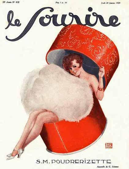 Roaring 1920s Le Sourire 1929 SM Poudrerizette | Roaring 1920s Ad Art and Magazine Cover Art
