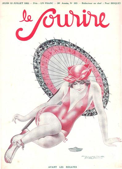 Roaring 1920s Le Sourire Magazine 1923 Avant Les Regates | Roaring 1920s Ad Art and Magazine Cover Art