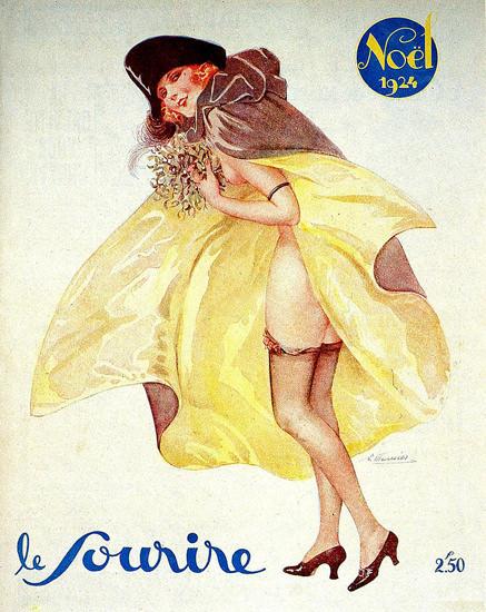 Roaring 1920s Le Sourire Magazine 1924 Noel Christmas Girl | Roaring 1920s Ad Art and Magazine Cover Art